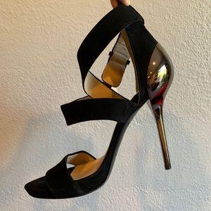 Marciano black suede open toe heels size 8